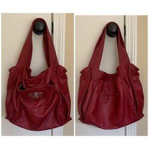B. Makowsky burgundy red leather hobo/shoulder bag